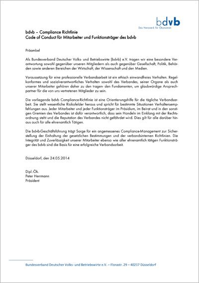 bdvb Compliance-Richtlinie, Titelblatt