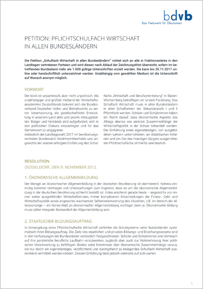bdvb-Petiton, Resolution Pflichtfach Wirtschaft, Titelblatt
