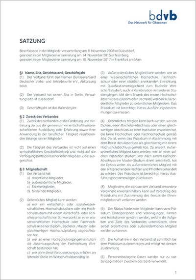 bdvb-Satzung, Titelblatt für Downloads